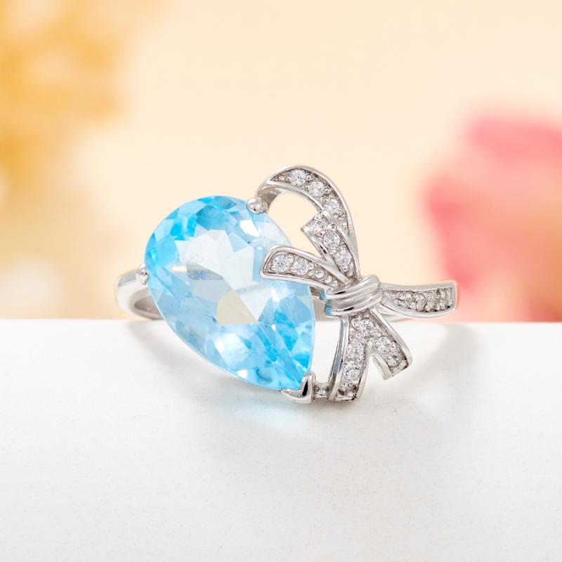 Кольцо топаз голубой огранка (серебро 925 пр.) размер 18 кольцо коюз топаз кольцо т142016149