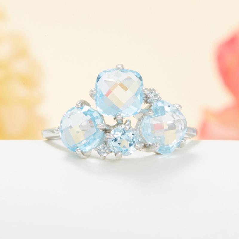 Кольцо топаз голубой огранка (серебро 925 пр.) размер 19 кольцо коюз топаз кольцо т142019037