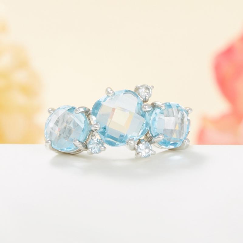 Кольцо топаз голубой огранка (серебро 925 пр.) размер 17,5 кольцо коюз топаз кольцо т100619027