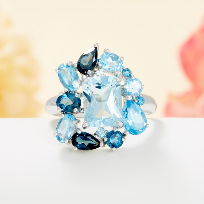 Кольцо топаз swiss, голубой, лондон огранка (серебро 925 пр.) размер 18,5