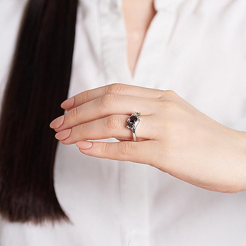 Кольцо микс гранат раухтопаз цитрин огранка (серебро 925 пр.) размер 18