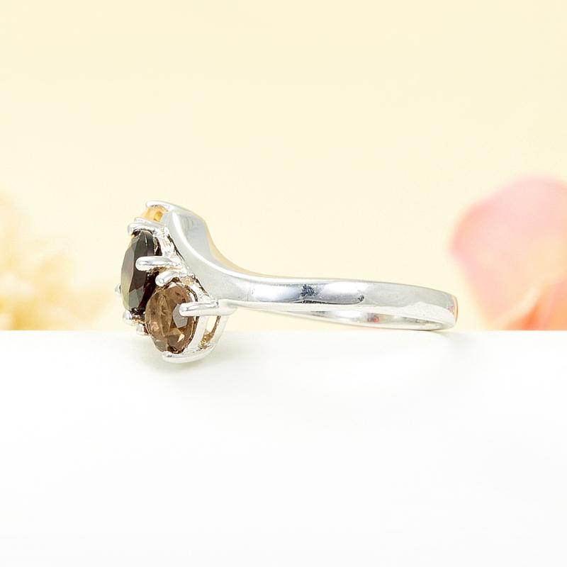 Кольцо микс гранат раухтопаз цитрин огранка (серебро 925 пр.) размер 24
