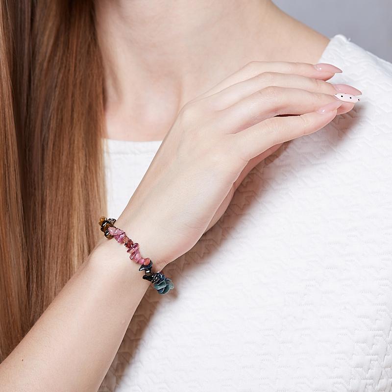Браслет турмалин зеленый (верделит) коричневый (дравит) голубой (индиголит) розовый (рубеллит) черный (шерл) Бразилия 17 см