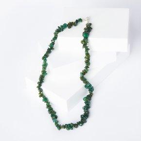 Бусы авантюрин зеленый Зимбабве 44 см (биж. сплав)