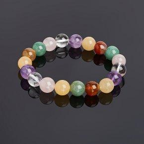 Браслет из разных видов камней 10 мм 17 cм