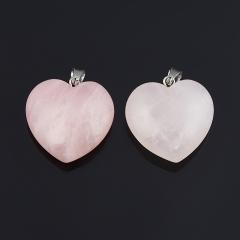 Кулон сердечко розовый кварц Бразилия (биж. сплав) 3 см
