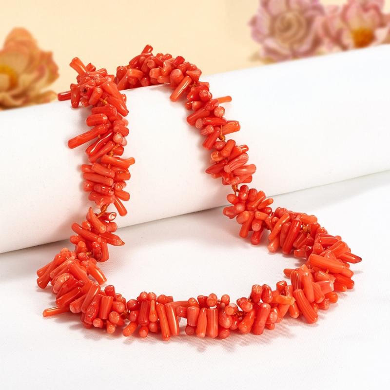Бусы коралл оранжевый  53 см