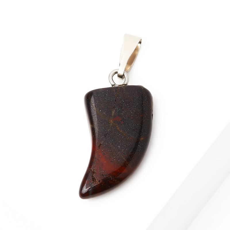 Кулон клык яшма красная ЮАР 2,5 см