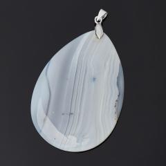 Кулон агат серый Ботсвана капля (биж. сплав) 6,5-7 см
