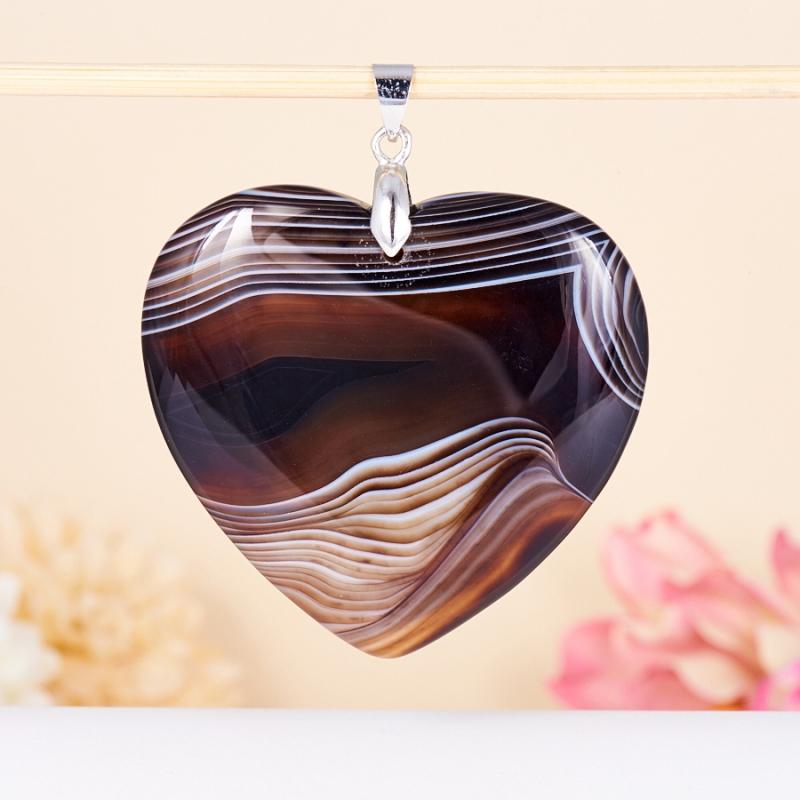 Кулон сердечко агат черный 5-6 см