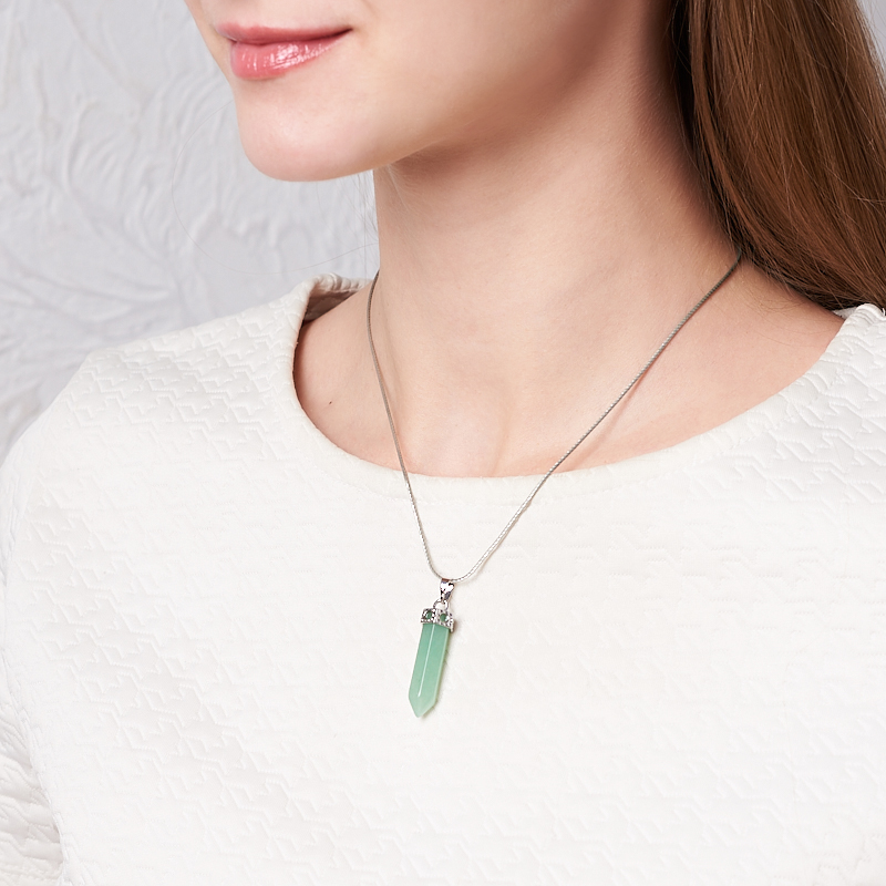 Кулон кристалл авантюрин зеленый Индия 4 см