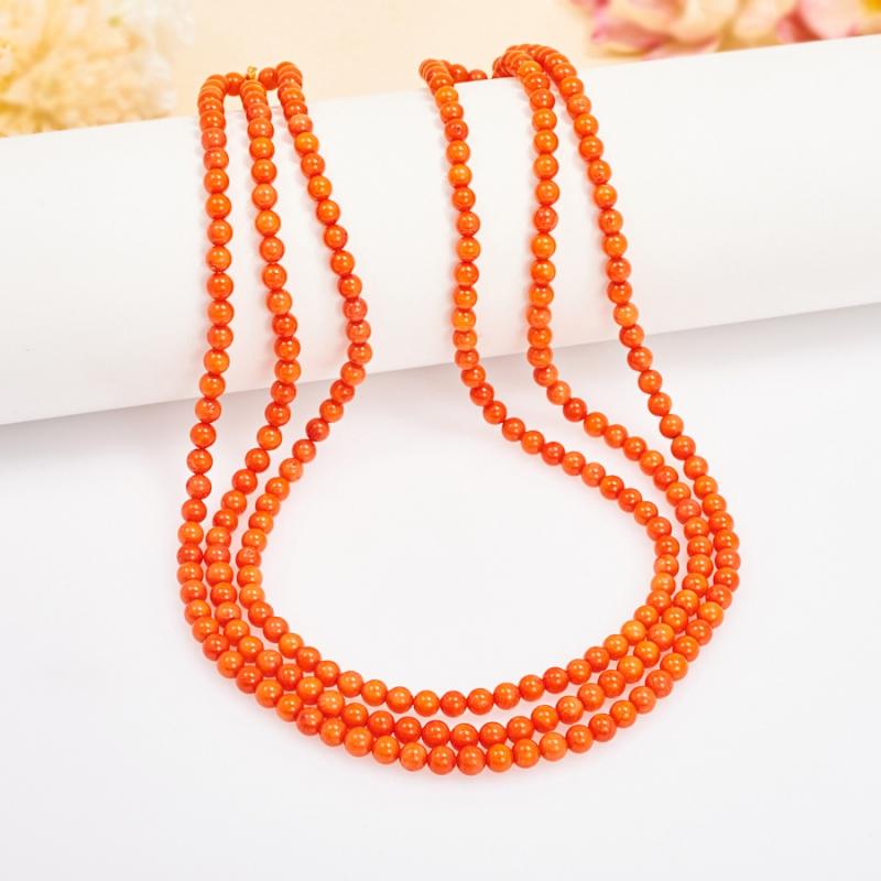 Бусы коралл оранжевый  4 мм 48 см бусы янтарь осенняя мелодия нян 157 1 4
