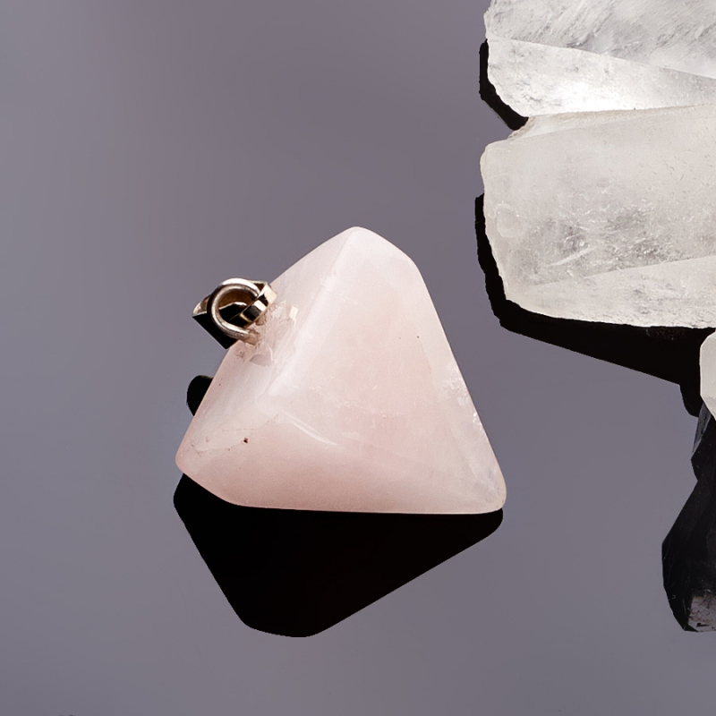 Кулон маятник розовый кварц  2,5 см кулон трикветр розовый кварц 4 5 см