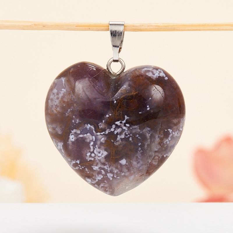 Кулон сердечко агат моховой  3 см