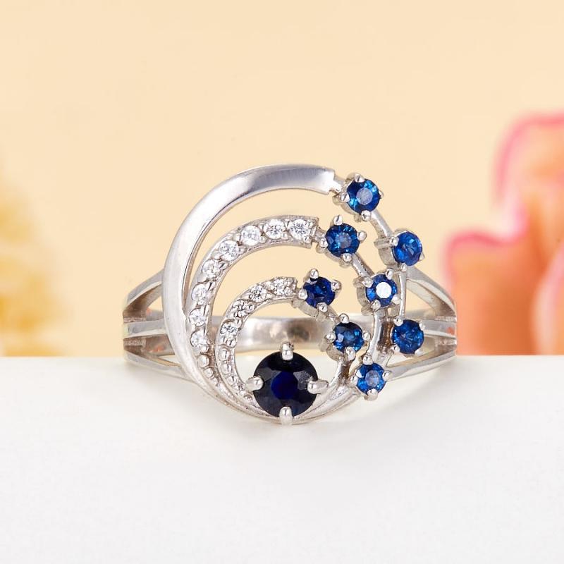 Кольцо сапфир  огранка (серебро 925 пр.) размер 18 кольцо авантюрин зеленый серебро 925 пр размер 18