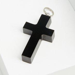 Кулон гагат Грузия крест 4 см (биж. сплав)