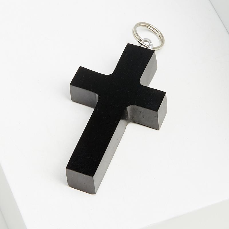 Кулон гагат Грузия крест (биж. сплав) 4 см