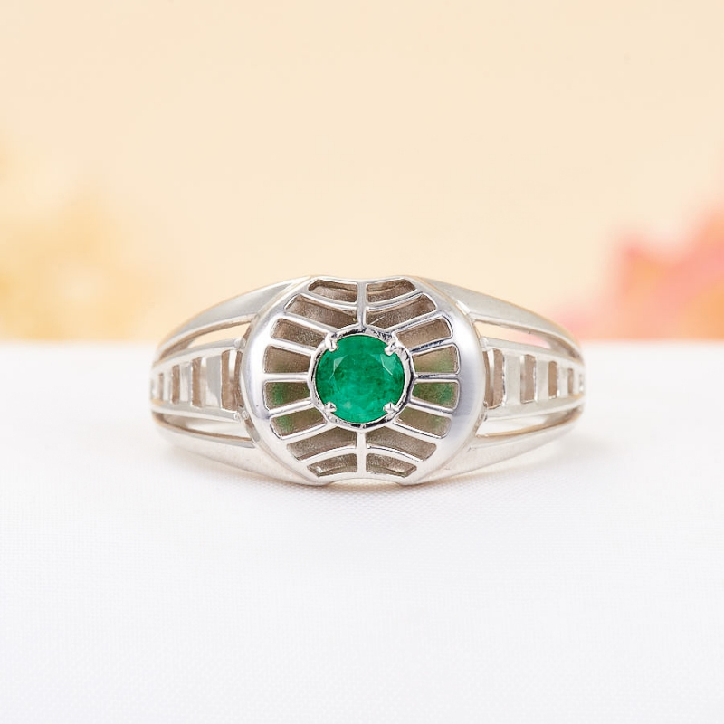 Кольцо изумруд  огранка (серебро 925 пр.) размер 21,5