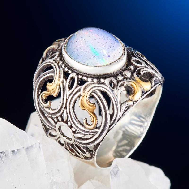 Кольцо опал благородный белый  (серебро 925 пр., позолота) размер 19