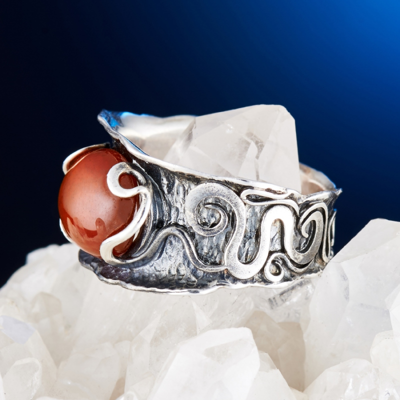 [del] Кольцо гранат спессартин Нигерия (серебро 925 пр.) размер 16,5