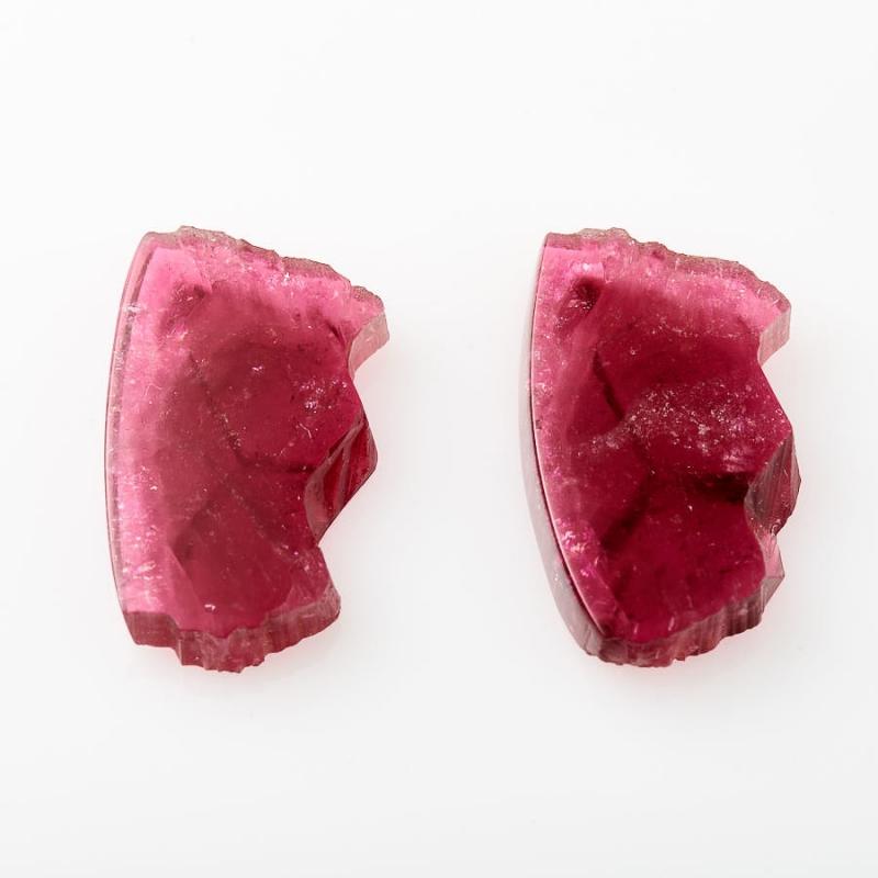 Комплект вставок турмалин розовый  (срез) 13*22 мм (2 шт)