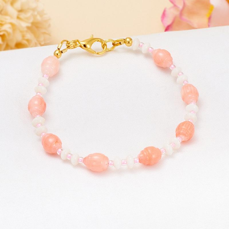 Браслет коралл розовый, белый  18 cм