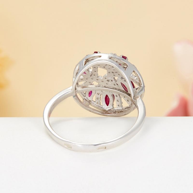 Кольцо рубин Мьянма огранка (серебро 925 пр.) размер 18,5