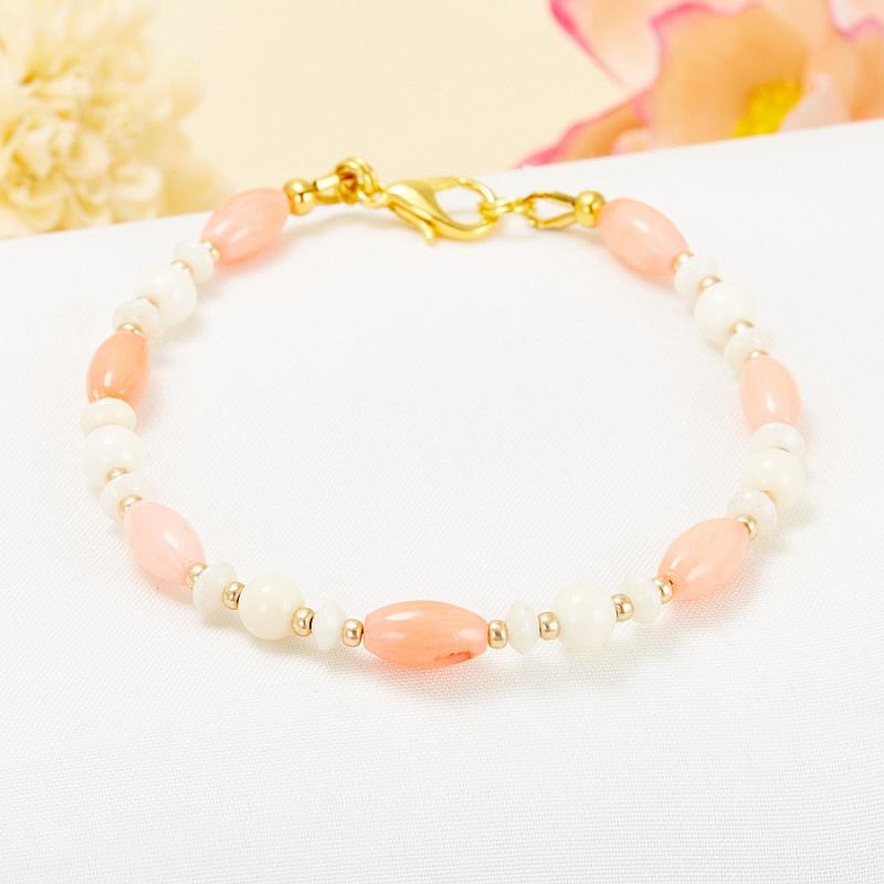 Браслет коралл розовый, белый  16 cм