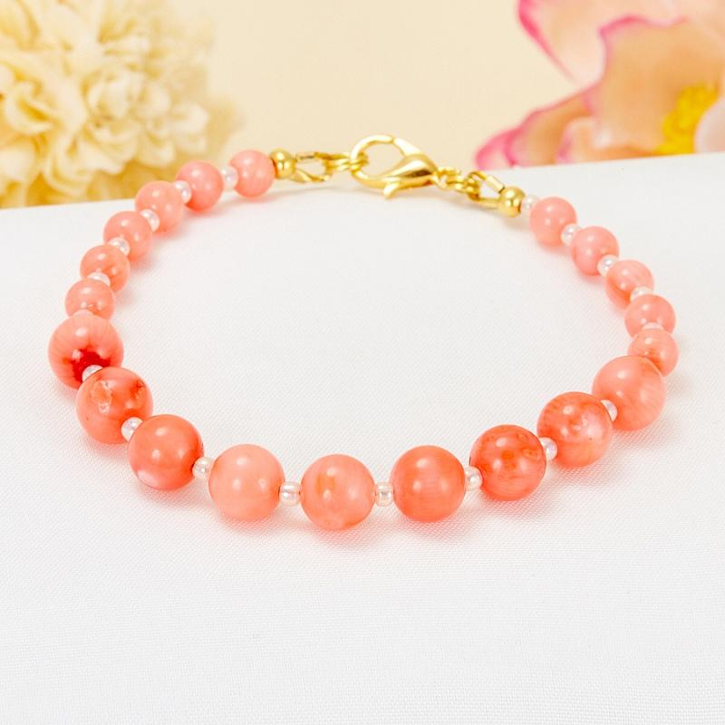 Браслет коралл розовый  17 cм