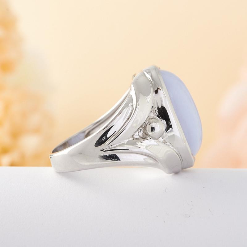 Кольцо голубой агат Намибия (серебро) размер 17