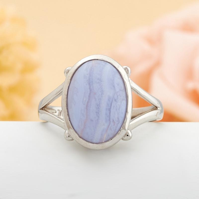 Кольцо голубой агат Намибия (серебро)   размер 16,5