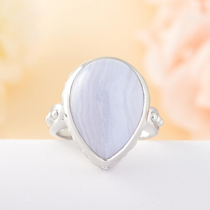 Кольцо голубой агат Намибия (серебро)   размер 18