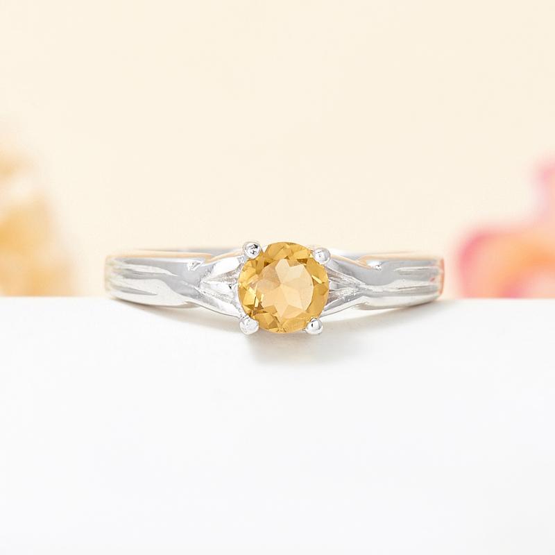 Кольцо турмалин желтый  огранка (серебро 925 пр.) размер 16,5