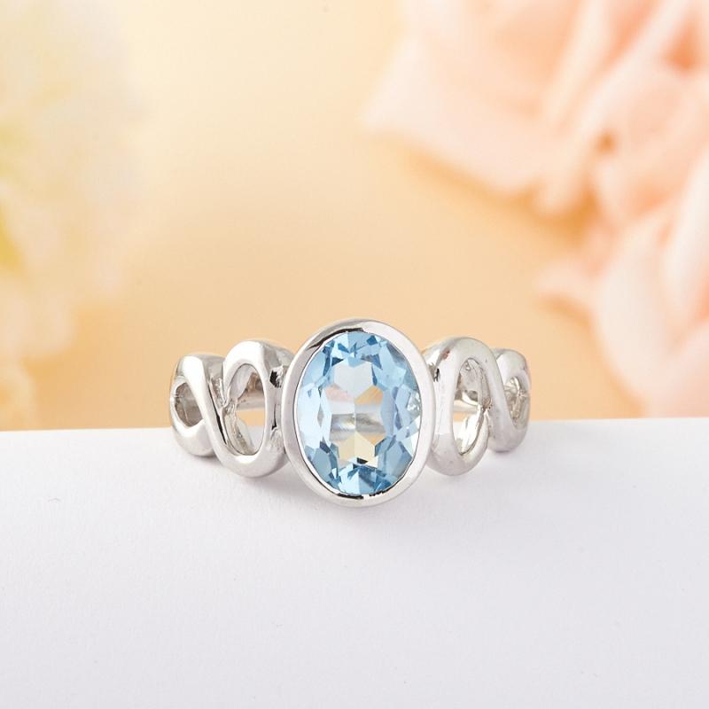 Кольцо голубой топаз Нигерия огранка (серебро) размер 18,5