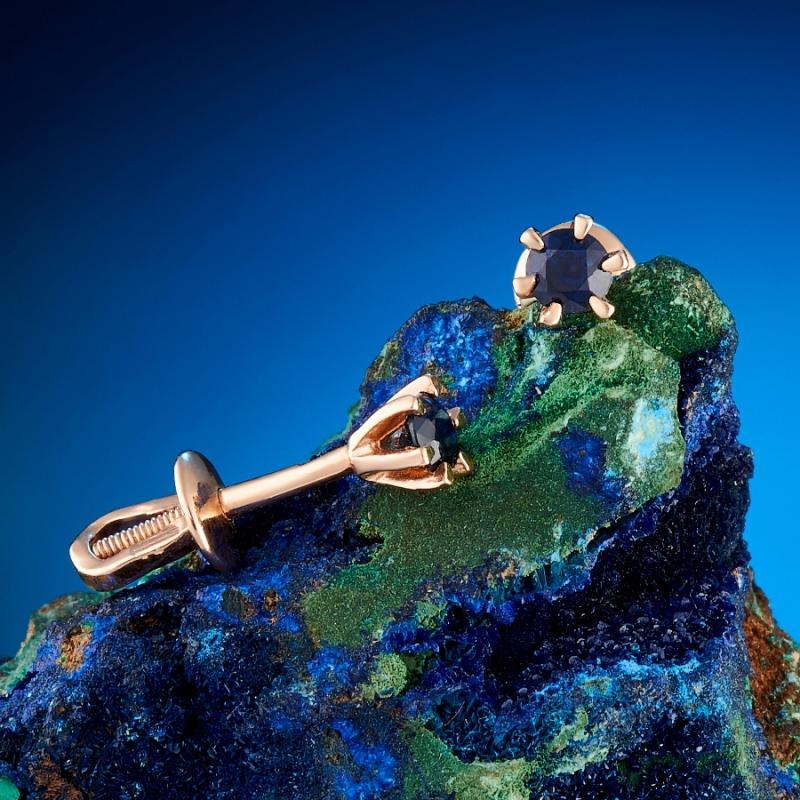 Серьги сапфир пуссеты огранка (золото 585 пр.) кольцо сапфир золото 585 пр размер 18