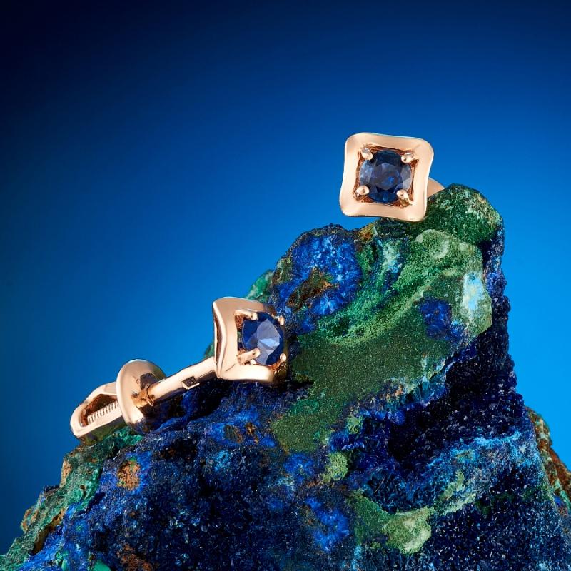 Серьги сапфир  пуссеты огранка (золото 585 пр.) серьги пуссеты сапфир огранка золото 585 пр