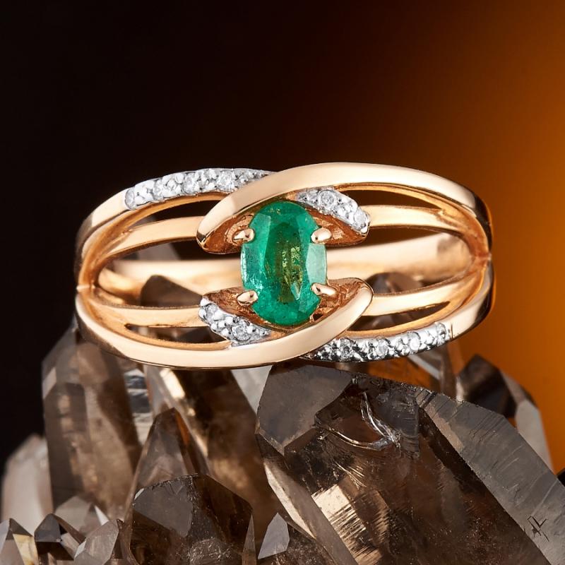 Кольцо изумруд огранка (золото 585 пр.) размер 17,5