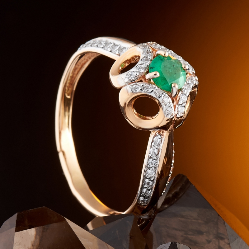 Кольцо изумруд Колумбия огранка (золото 585 пр.) размер 23