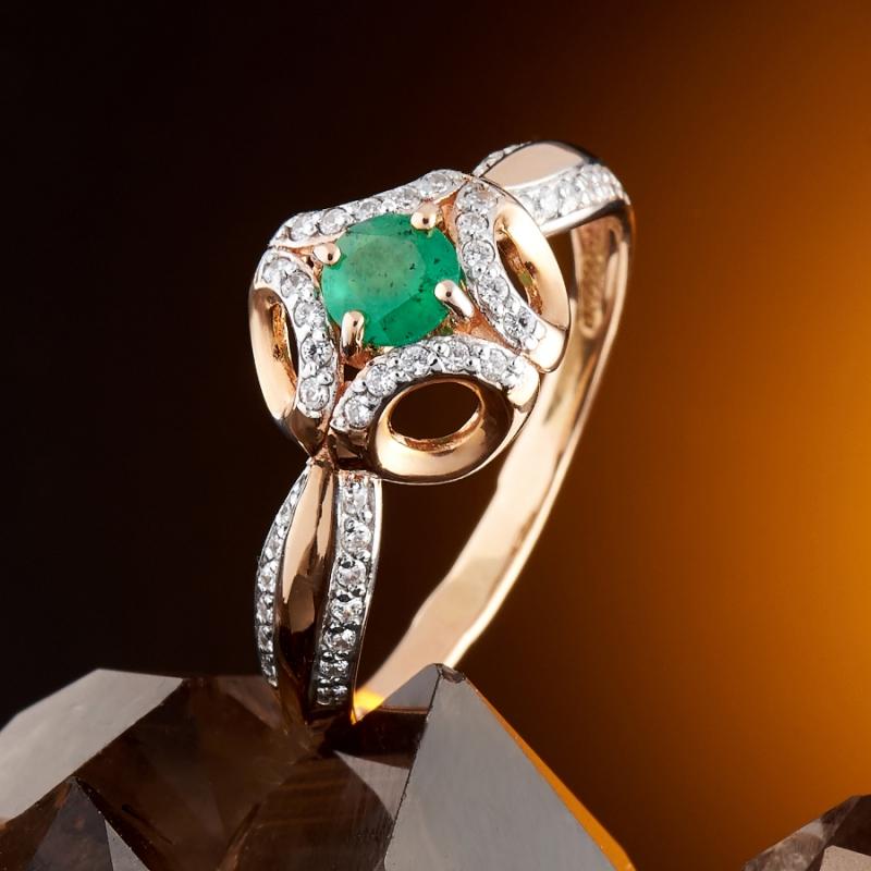 Кольцо изумруд Колумбия огранка (золото 585 пр.) размер 23,5