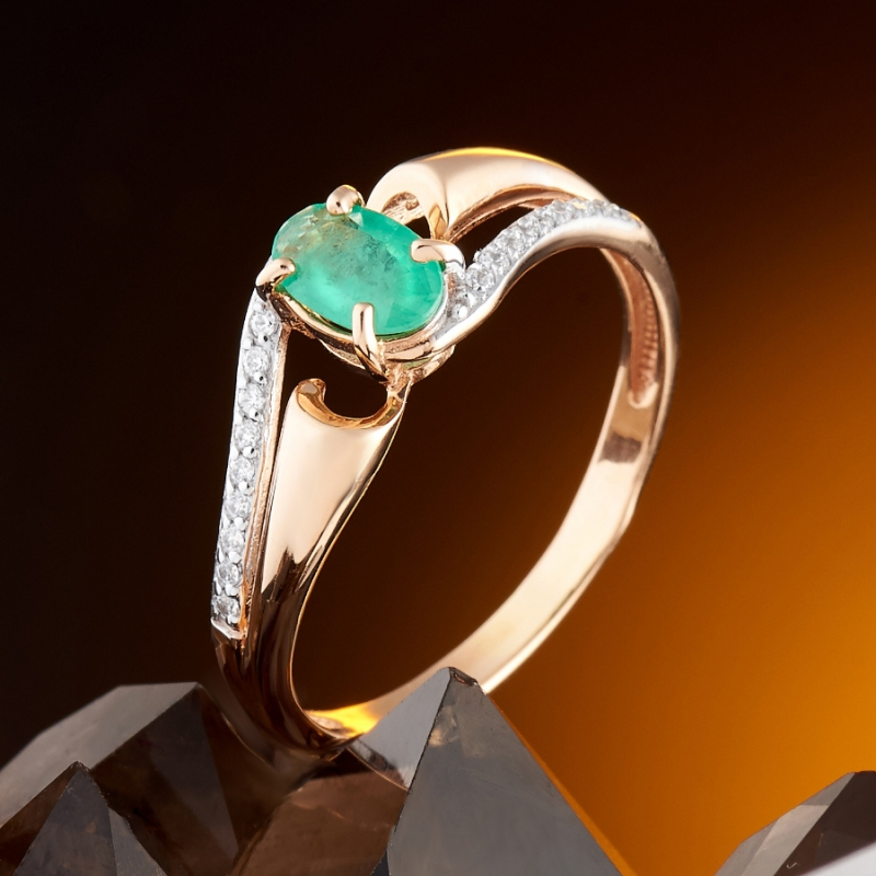 Кольцо изумруд огранка (золото 585 пр.) размер 16,5