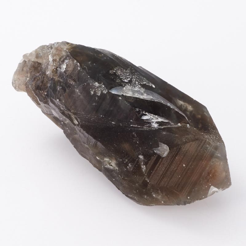 Кристалл раухтопаз с эпидотом и тремолит-асбестом  S