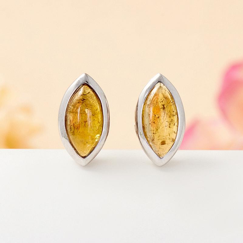 Серьги турмалин желтый  пуссеты (серебро 925 пр.)