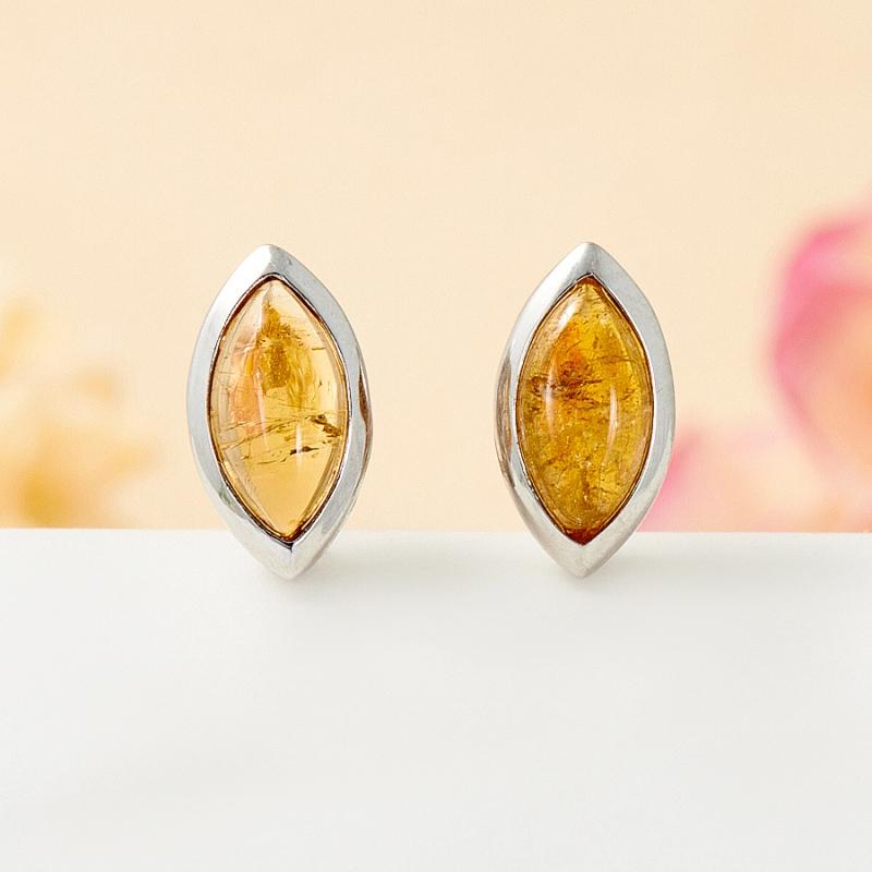 Серьги турмалин желтый пуссеты (серебро 925 пр.) брошь турмалин