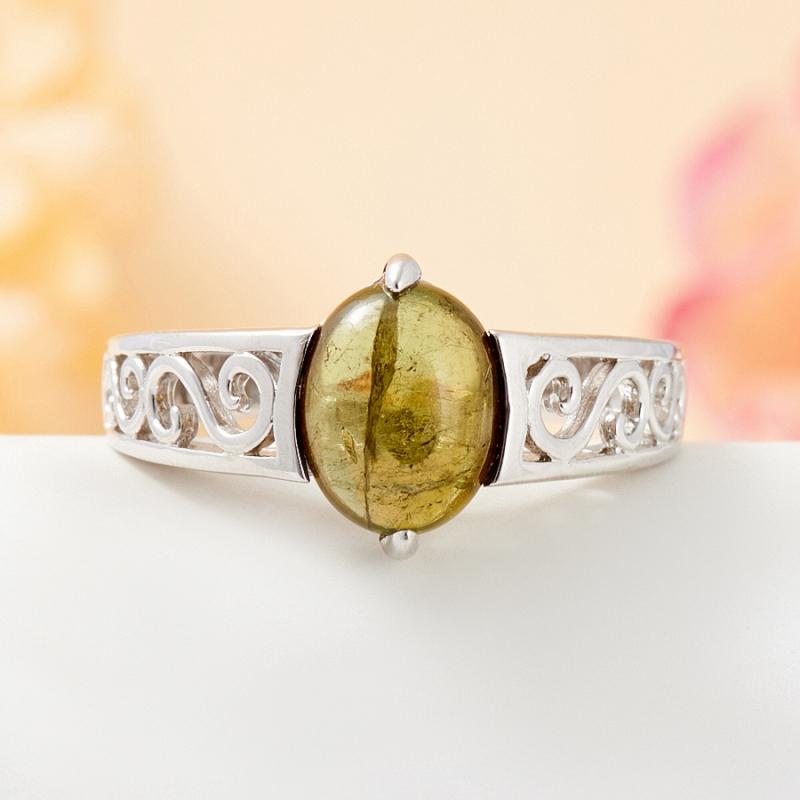 Кольцо турмалин зеленый (серебро 925 пр.) размер 19 цены