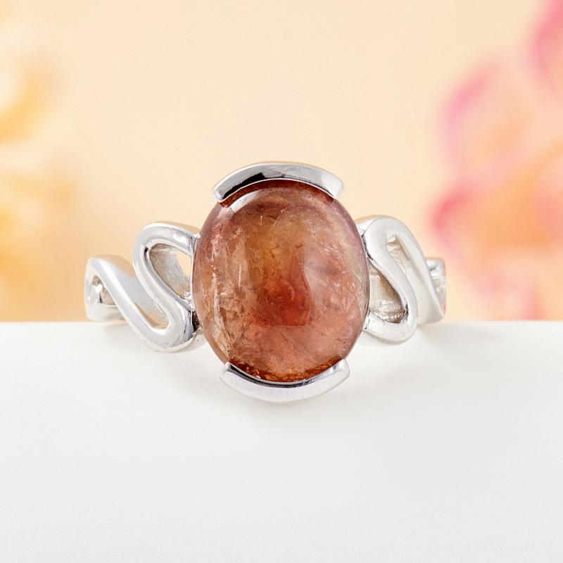Кольцо турмалин коричневый  (серебро 925 пр.) размер 16,5