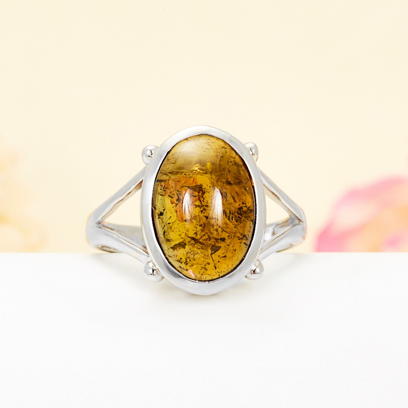 Кольцо турмалин коричневый  (серебро 925 пр.) размер 17,5