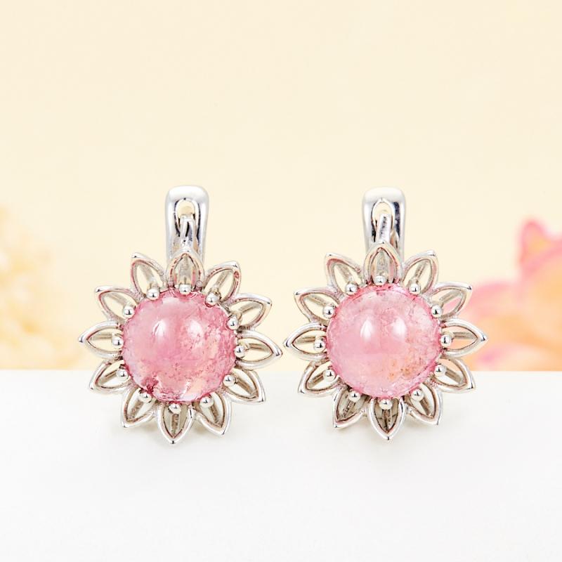 Серьги турмалин розовый  (серебро 925 пр.)