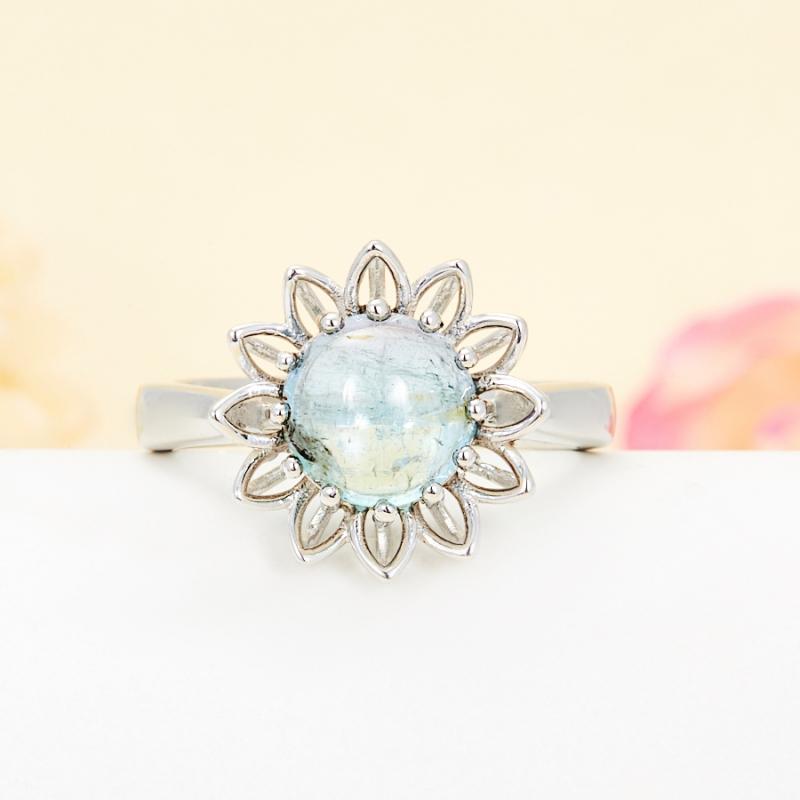 Кольцо турмалин голубой  (серебро 925 пр.) размер 19