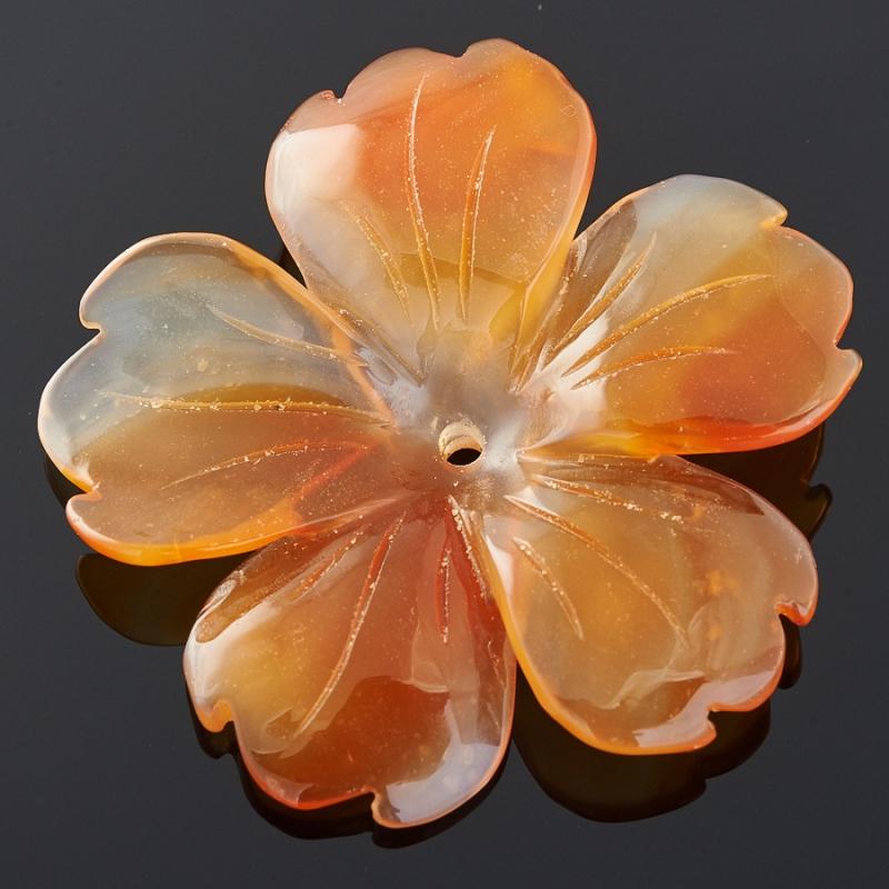Пуговица цветок сердолик Ботсвана 3 см