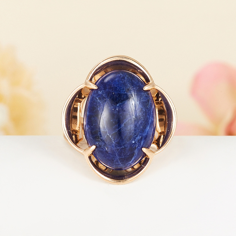 Кольцо содалит Бразилия (серебро 925 пр., позолота) размер 21,5